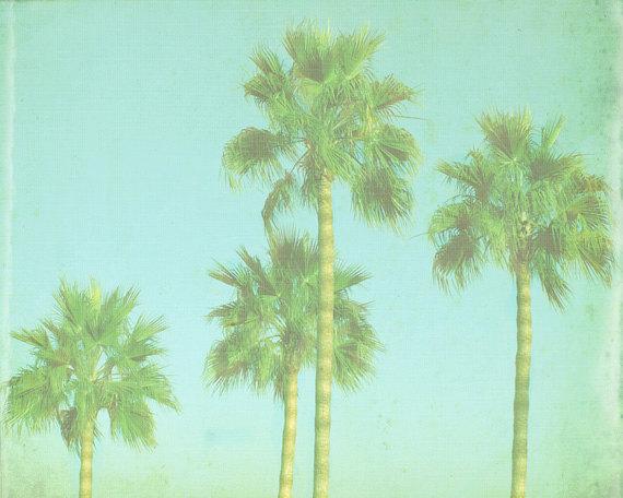 VIntage Palm Tree Beach Print   Blue Green Retro Tropical Ocean Beach 570x456