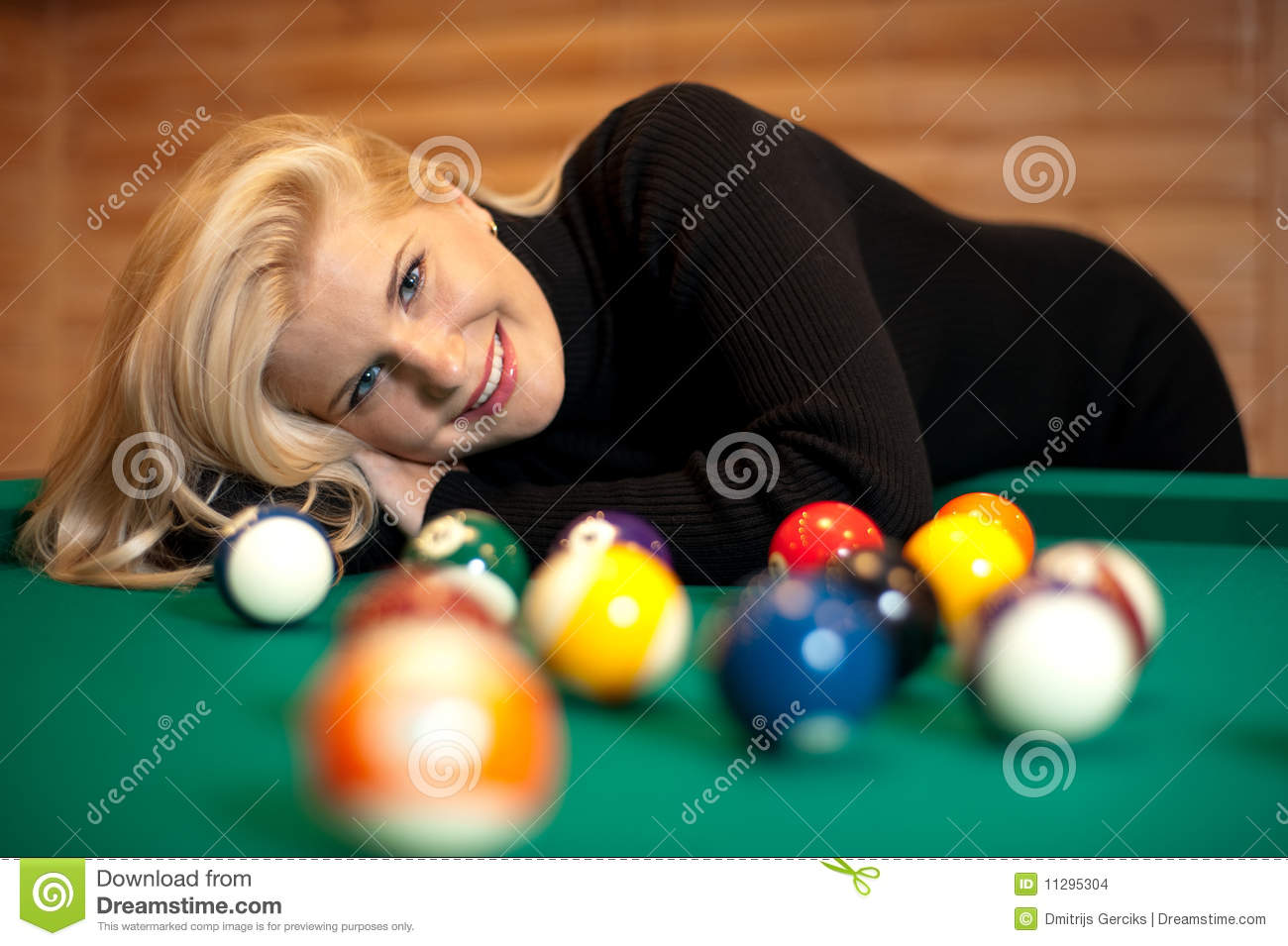 Pretty Blond Girl With Billiard Balls Stock Images Image 11295304 1300x955