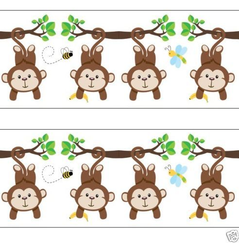 Monkey Wallpaper Border Decals Baby Boy Nursery Kids Room Jungle Wall 492x500