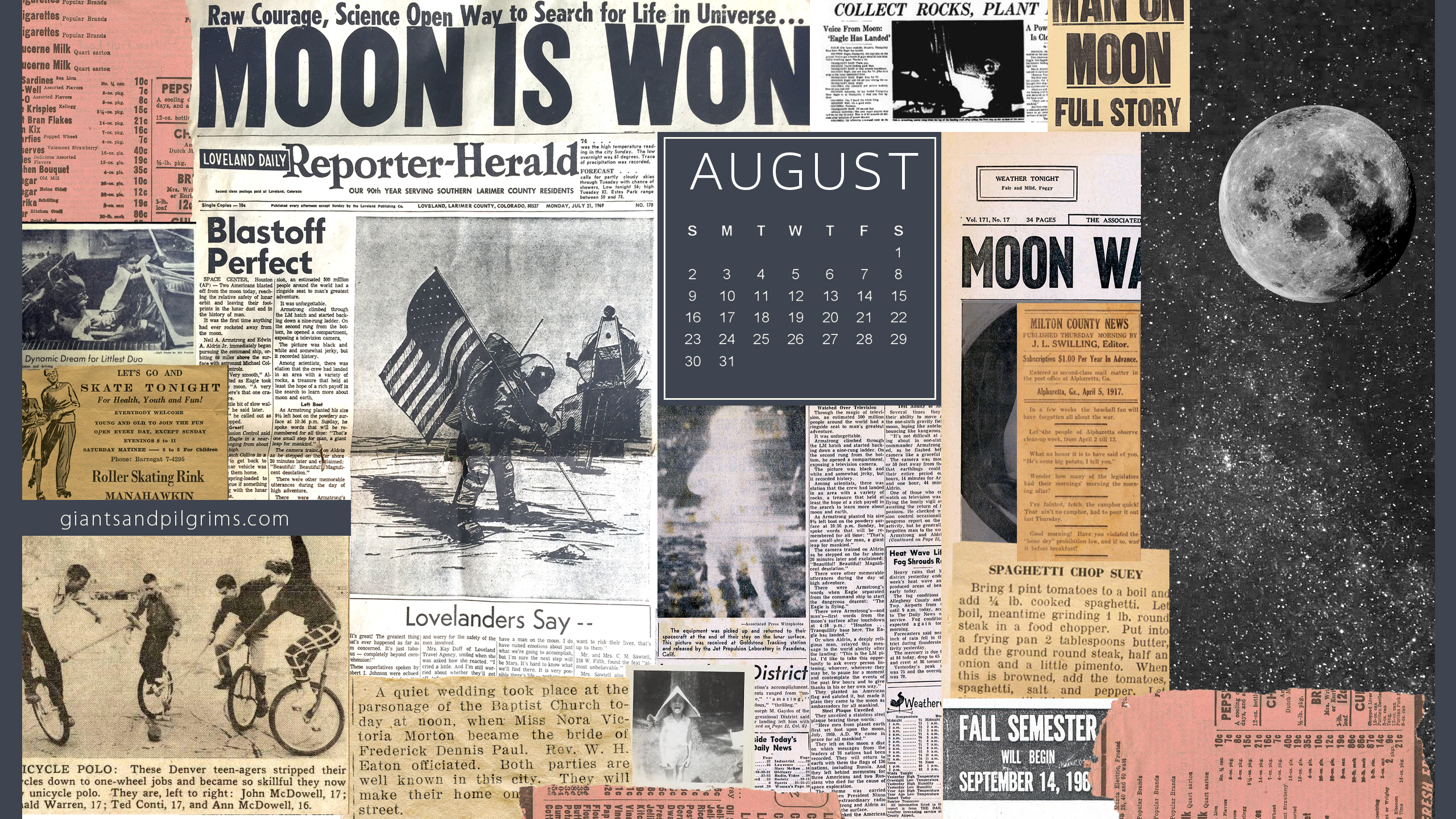 August Calendar Desktop and iPhone Wallpaper Giants Pilgrims 2560x1440