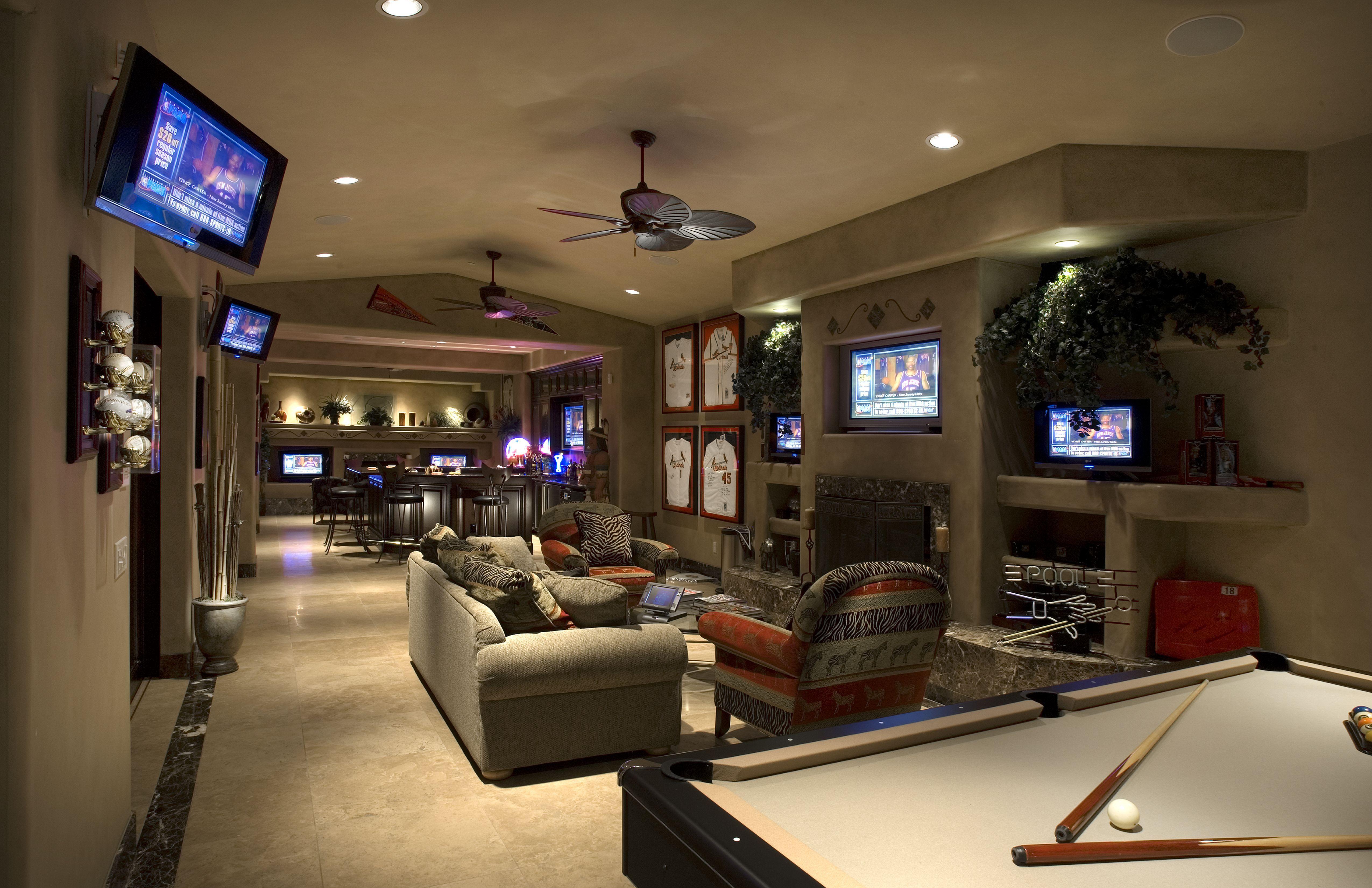 Wallpaper interior game room bar pool table billiard game room 5100x3300