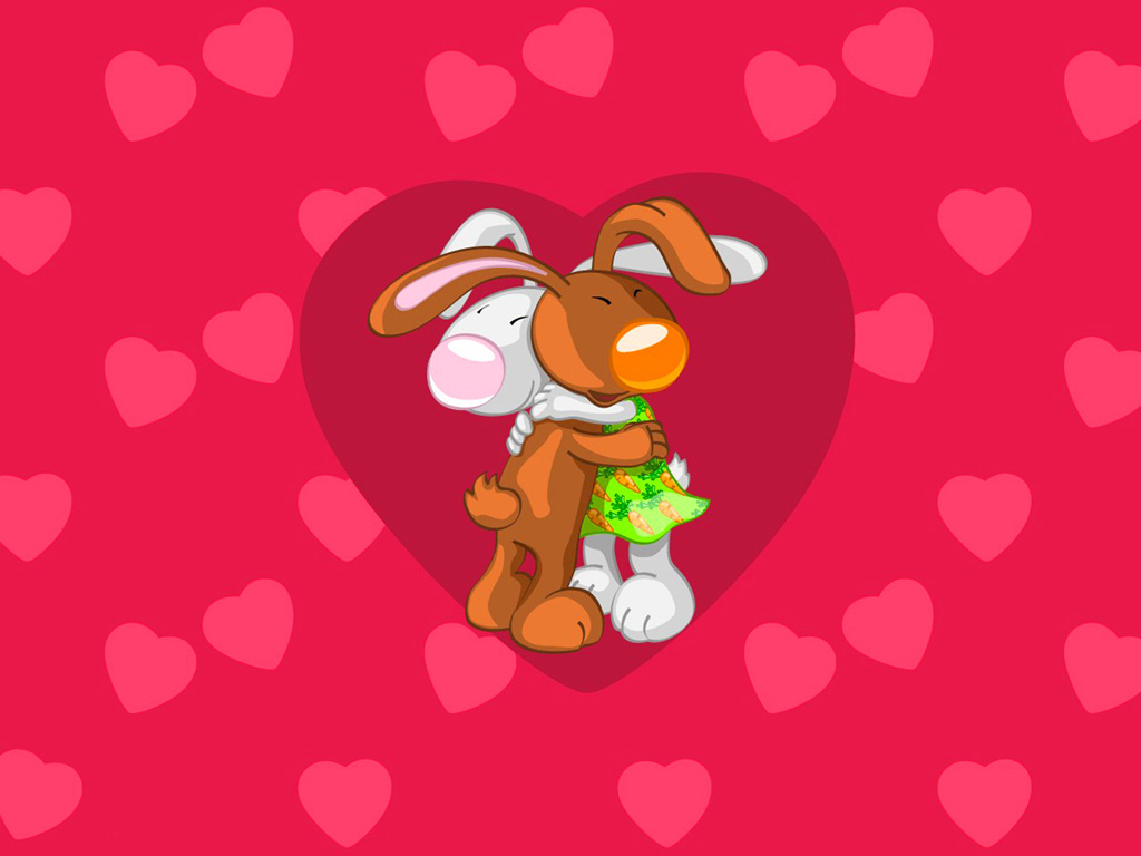 Best Friends Cartoon Bunny Computer Desktop Wallpapers Pictures 1024x768