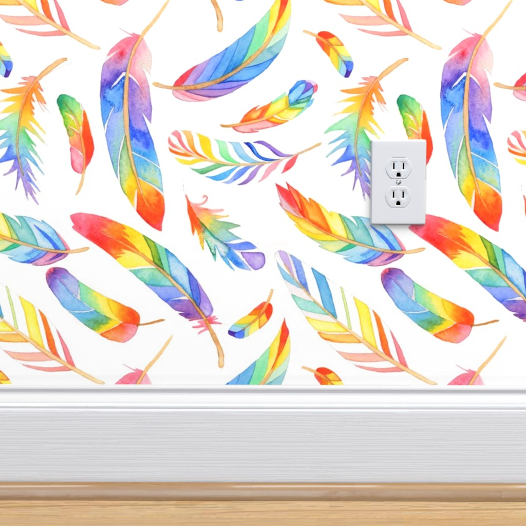 Rainbow feathers   Spoonflower 1024x1024