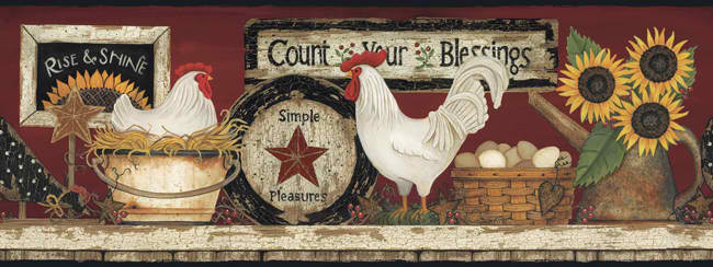 Yellow White CB5538BD Hen And Rooster Wallpaper Border   Rustic 650x244