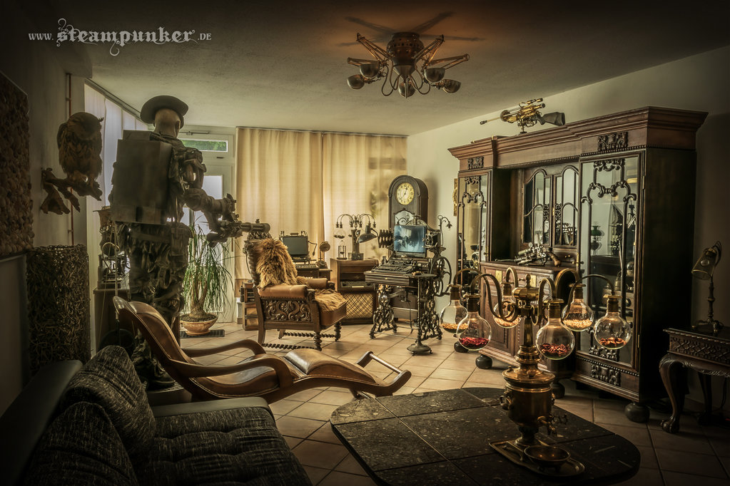 Steampunk living room by steamworker 1023x682