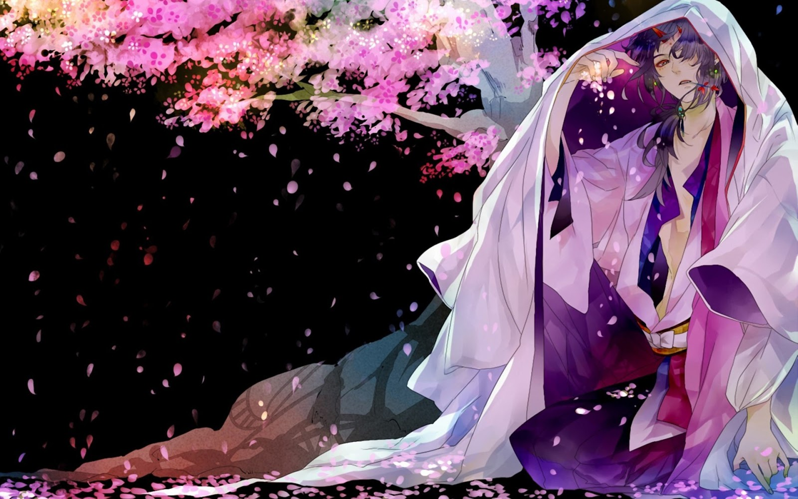 Anime Guy Kimono Cherry Blossom HD Wallpaper Desktop PC Background 1600x1000
