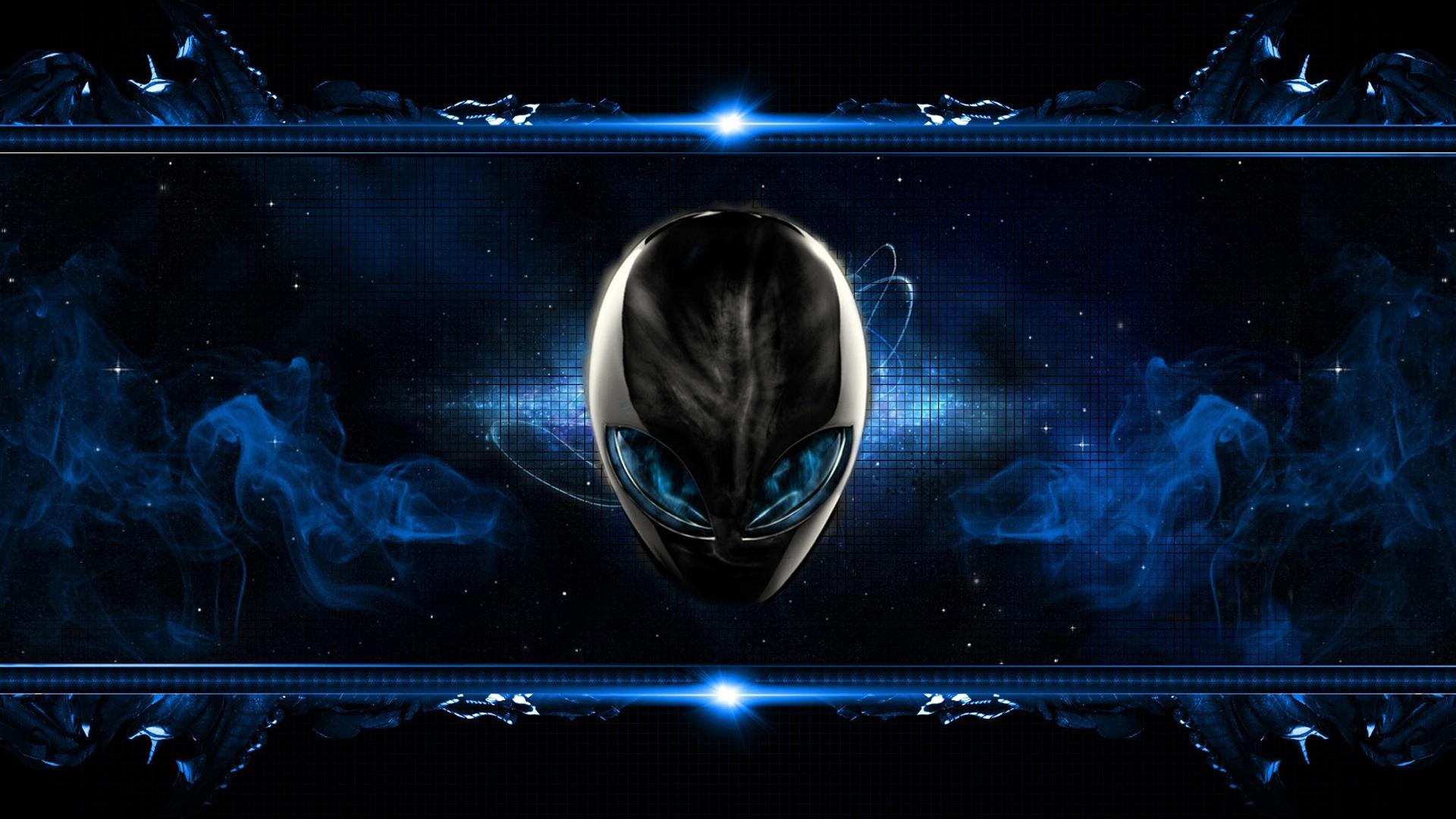 alienware logo smoky dark blue background 1920x1080 1080p wallpaper 1920x1080