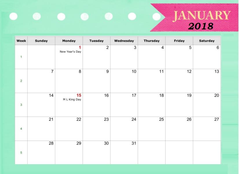 2018 January Calendar With Holidays Max Calendars 825x603