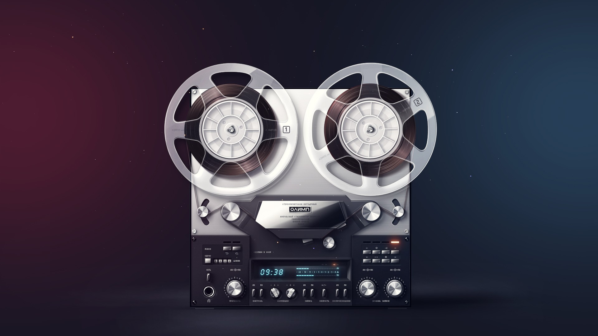 vintage studio retro coil tape stereo buttons 1920x1080