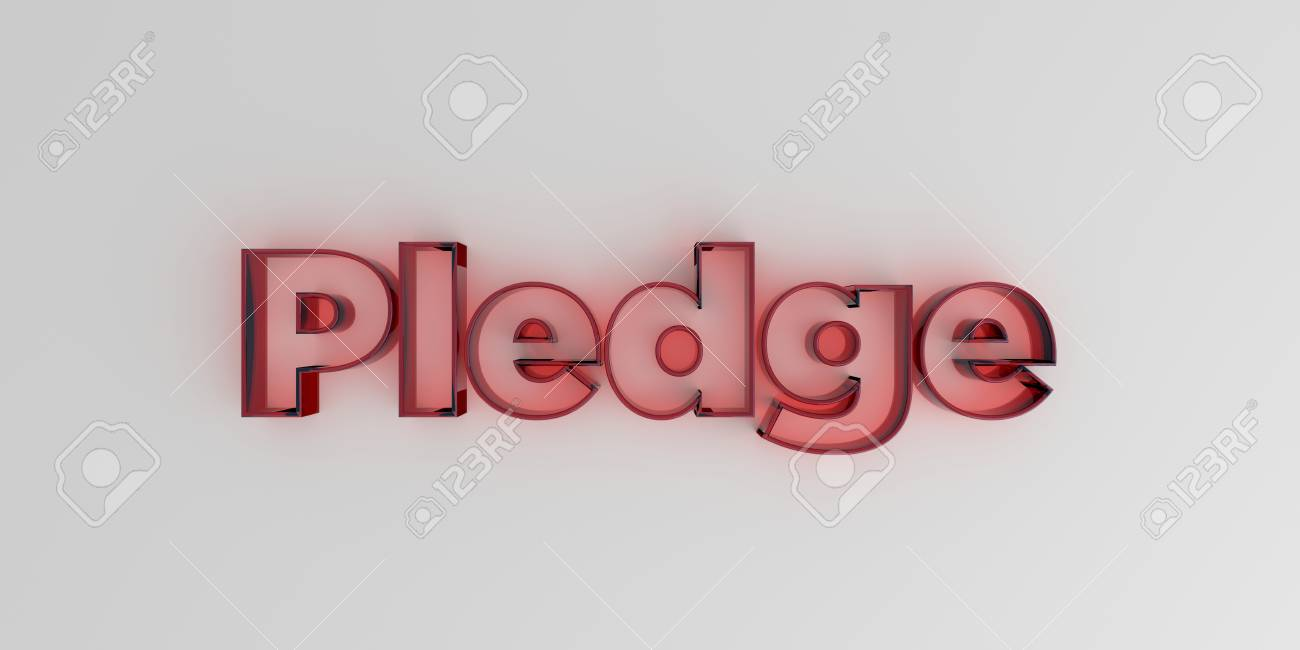 Pledge   Red Glass Text On White Background   3D Rendered Royalty 1300x650