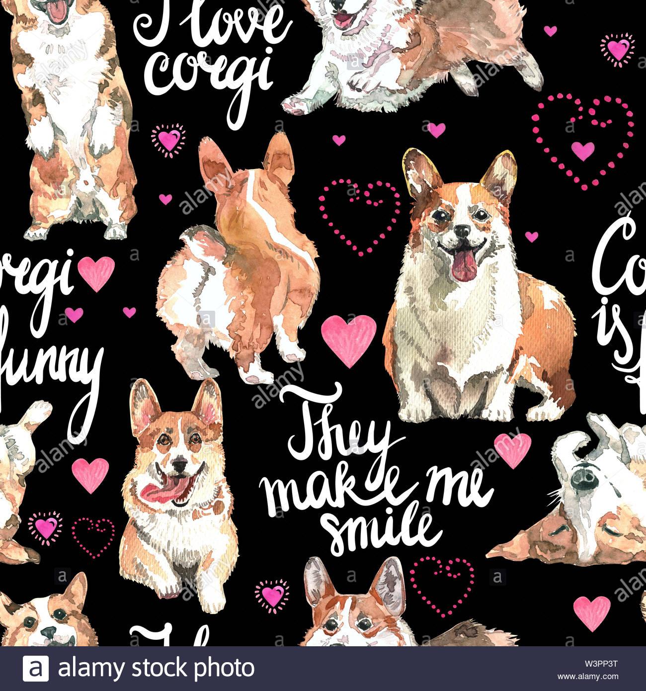 Welsh Corgi Pembroke watercolor dog animal pattern 1300x1390
