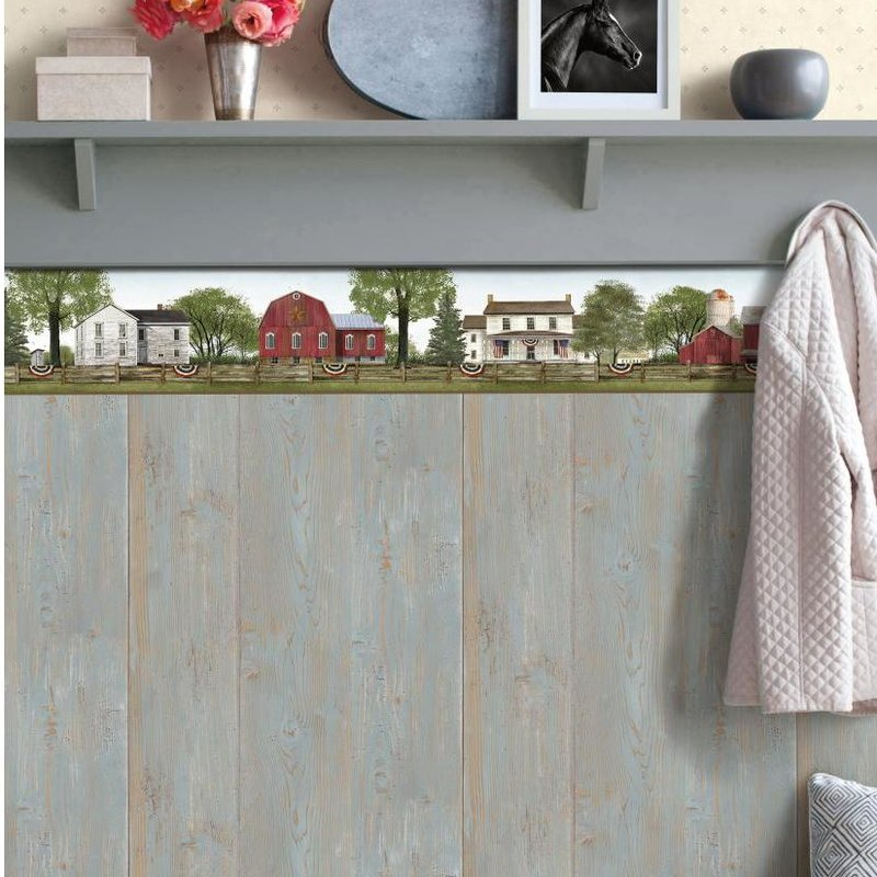 York Wallcoverings 9 L x 15 W Farmhouse Scenic Wallpaper Border 800x800