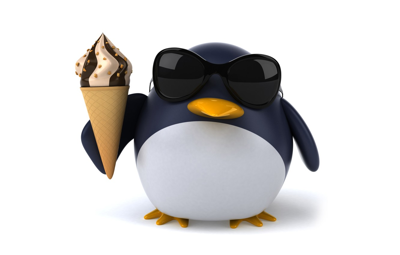 Wallpaper penguin character funny ice cream pinguin images for 1332x850