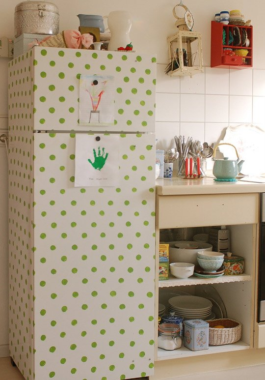 Decorating Ideas With Wallpapers Polka dots refrigerator decor 540x773
