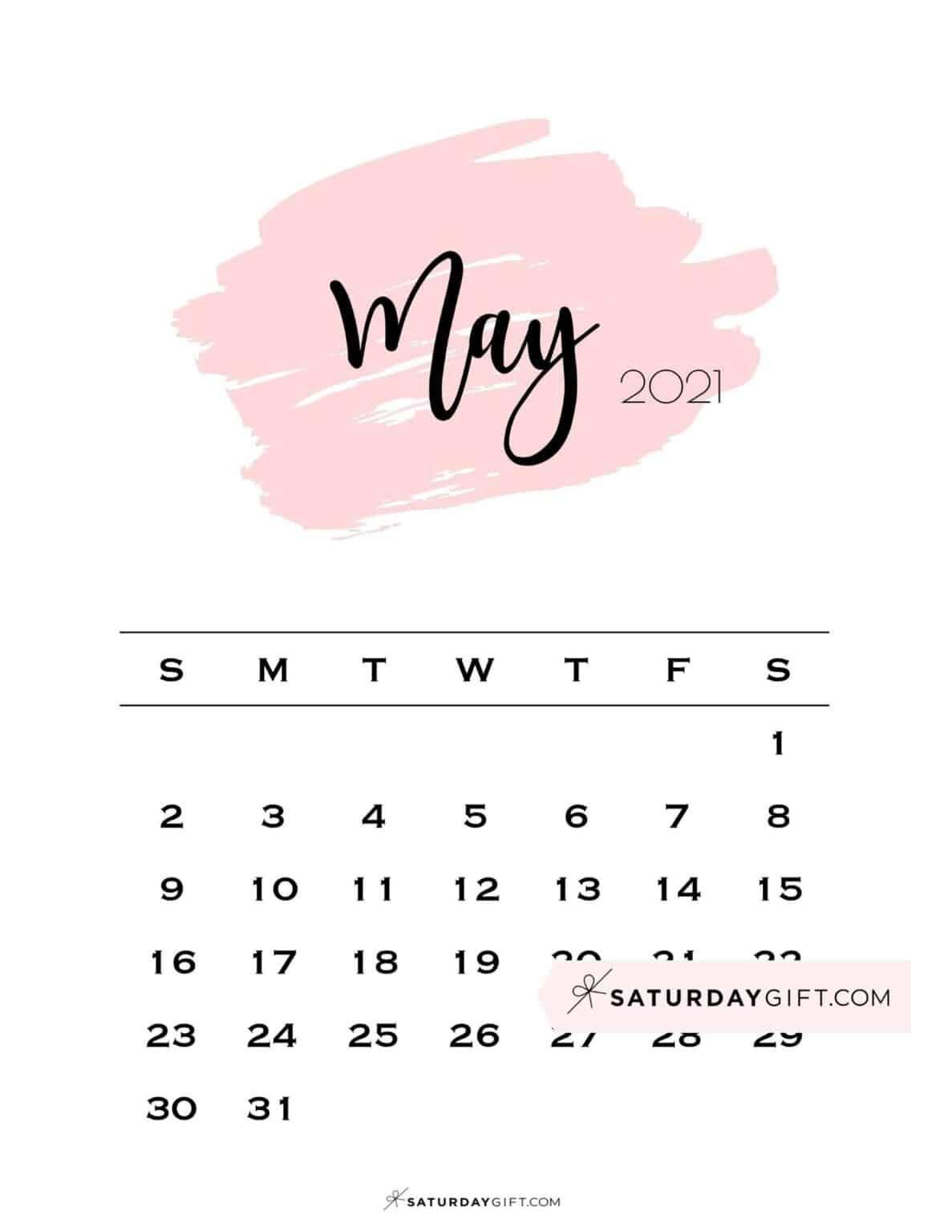 Cute Printable May 2022 Calendar SaturdayGift 1187x1536