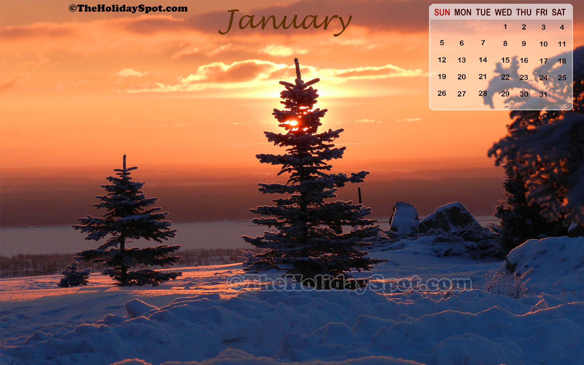 high quality January 2014 wallpaper themed on the first sunrise of 1920x1200