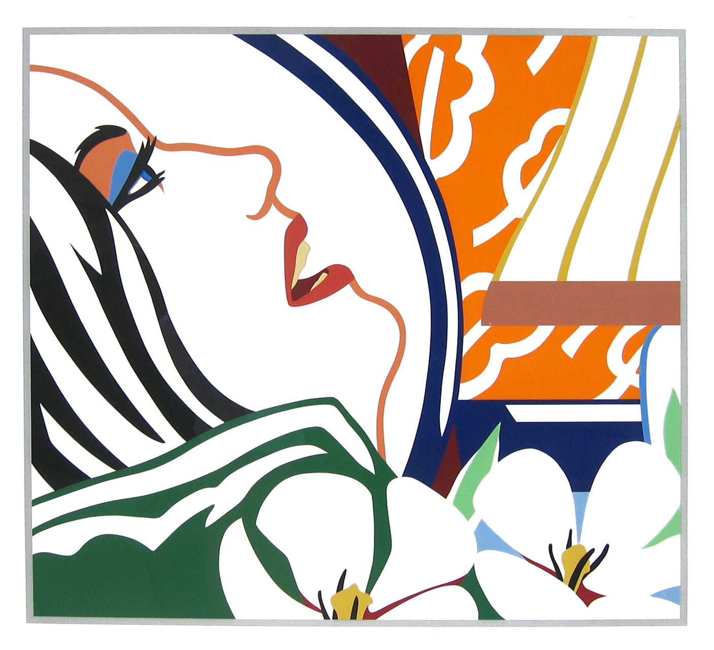 Tom Wesselmann Bedroom Face with Orange Wallpaper 1987 Silkscreen 1406x1281