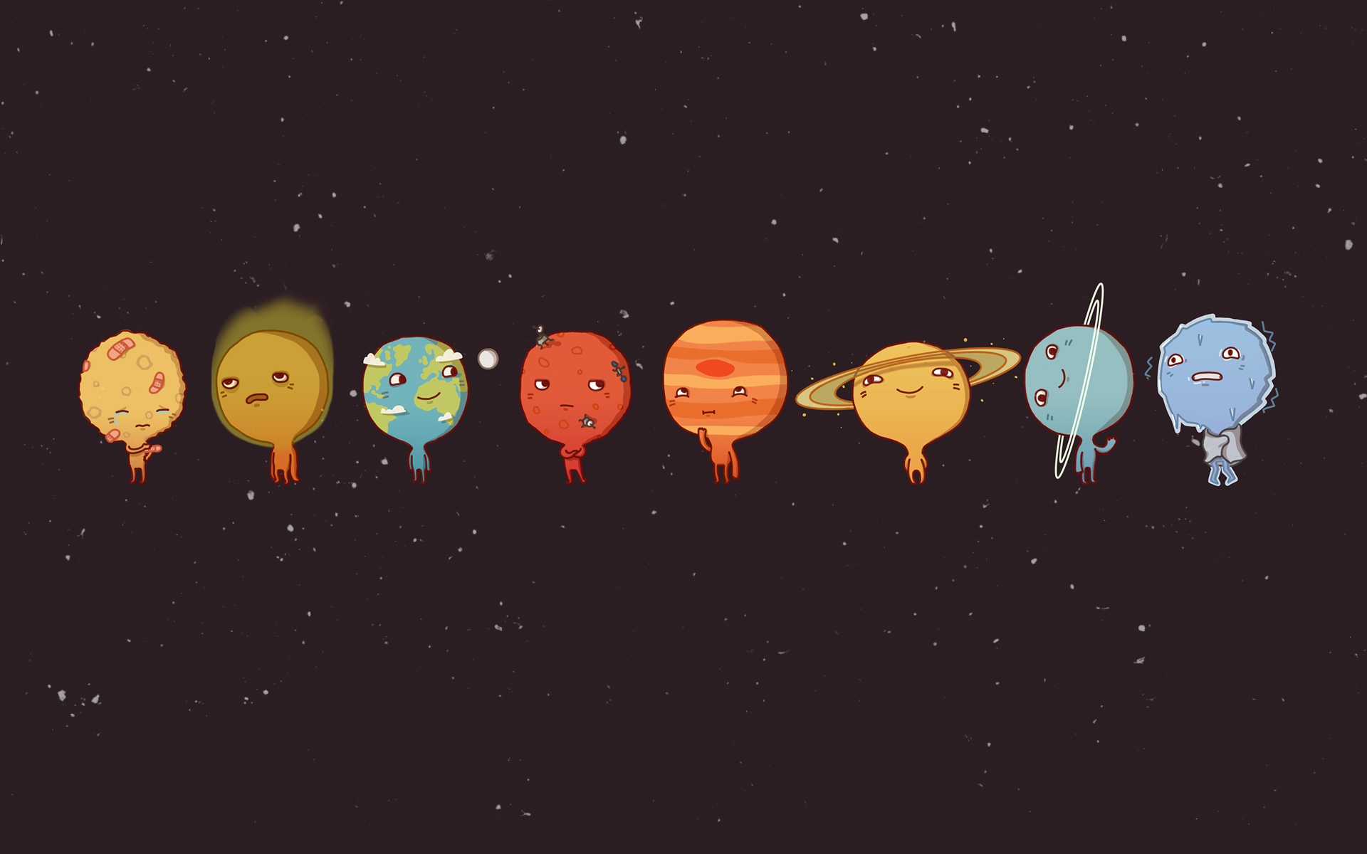 Solar System planets little simple background wallpaper background 1920x1200