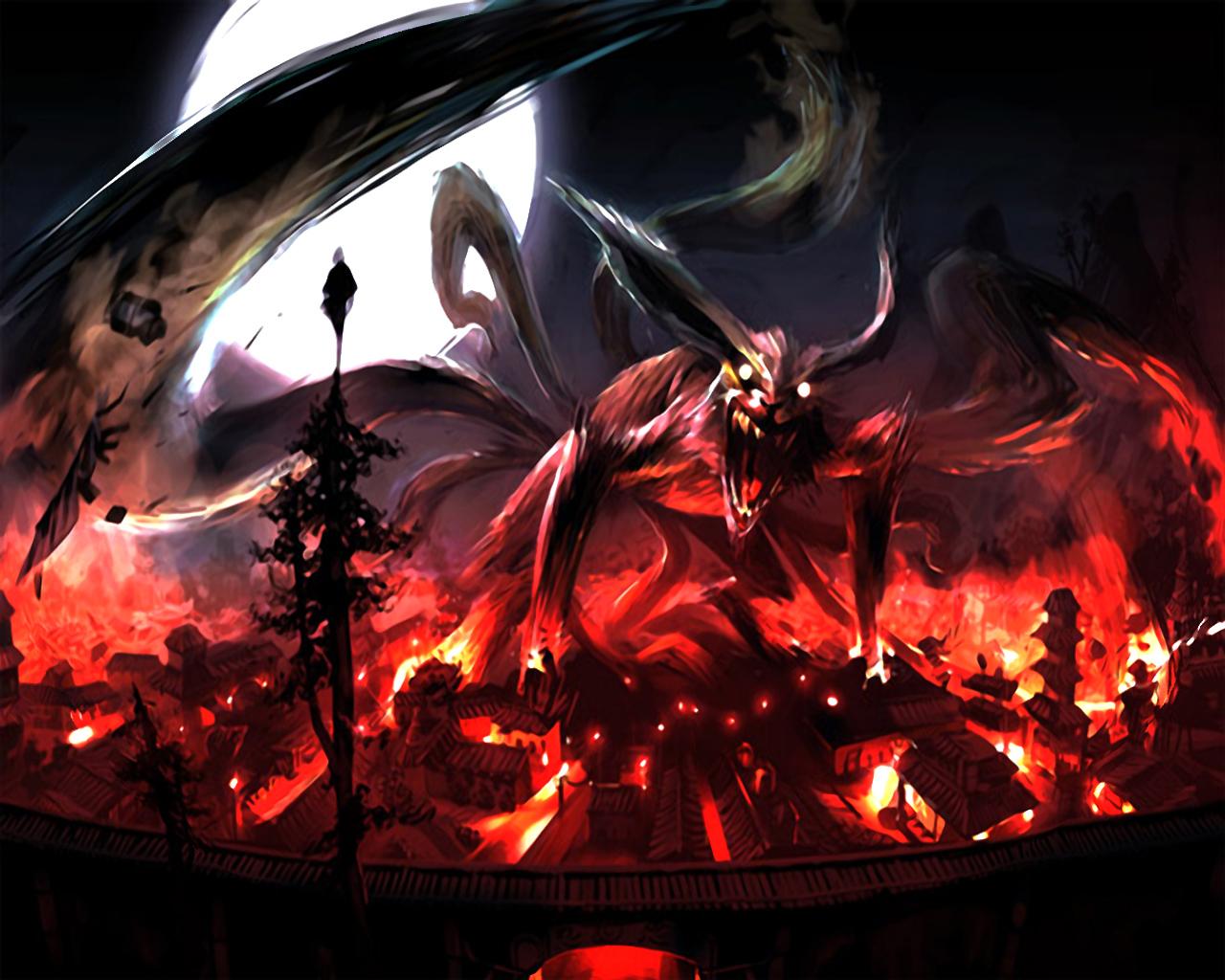 Nine Tails Naruto Anime Wallpaper Wallpaper WallpaperLepi 1280x1024