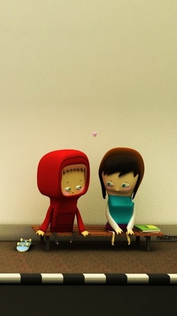 3d Cute Love Dolls Mobile Phone Wallpapers 360x640 Hd Wallpaper 360x640
