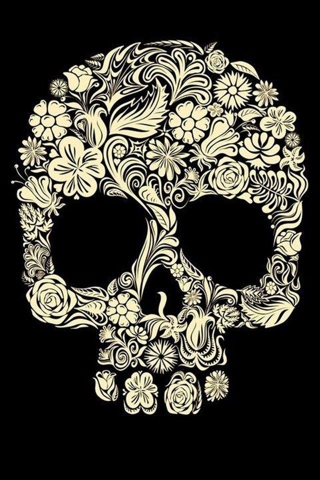 Flower Sugar Skull Wallpaper 640x960