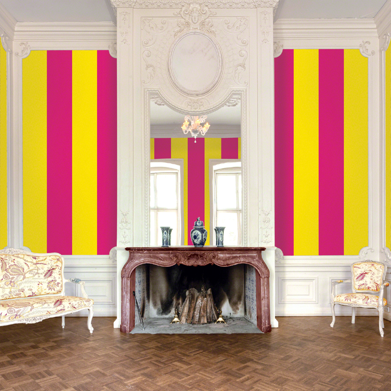 Stripes in Raspberry and Mango Removable Wallpaper Wallpaper 800x800