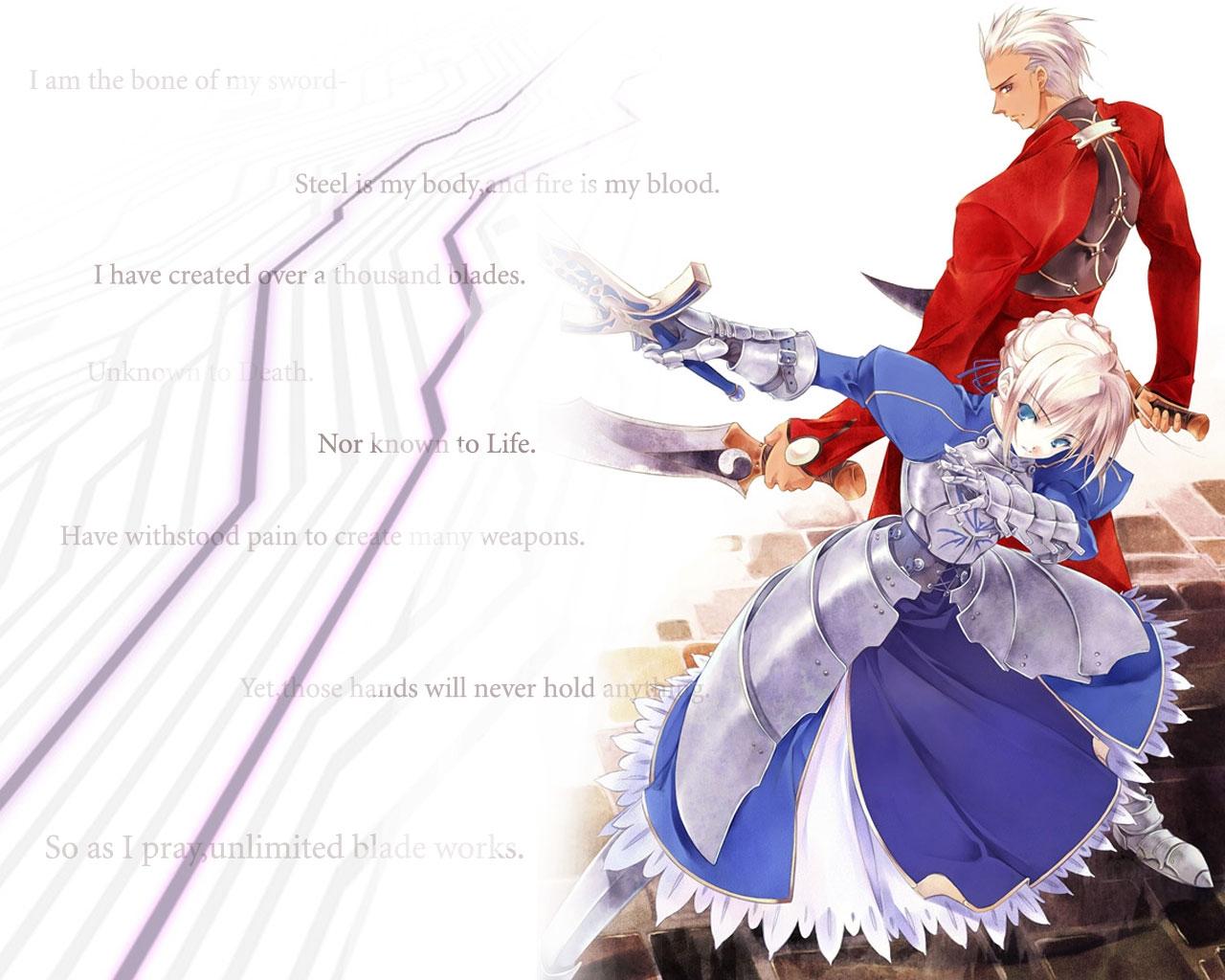 Anime   FateStay Night Unlimited Blade Works Saber Archer Wallpaper 1280x1024