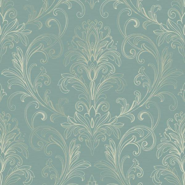 Blue and Silver Linear Damask Wallpaper D Marie Interiors 600x600