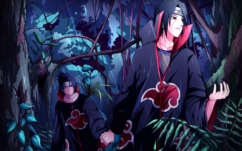 Uchiha Itachi Sasuke Akatsuki Anime Wallpaper HD g02 Forest Raining 1440x900