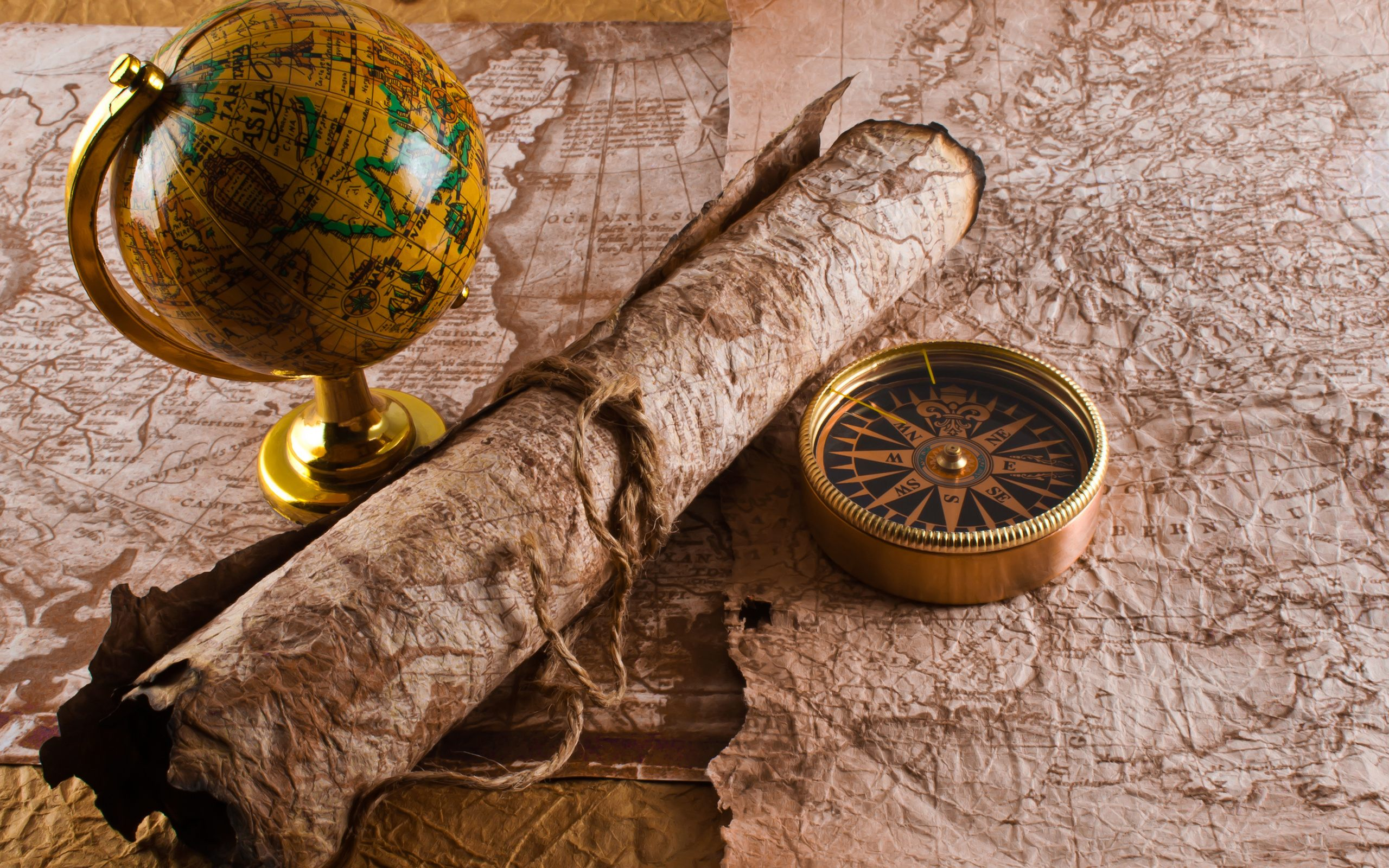 Treasure Hunter Map And Compass Wide 25601600 110216 HD Wallpaper 2560x1600