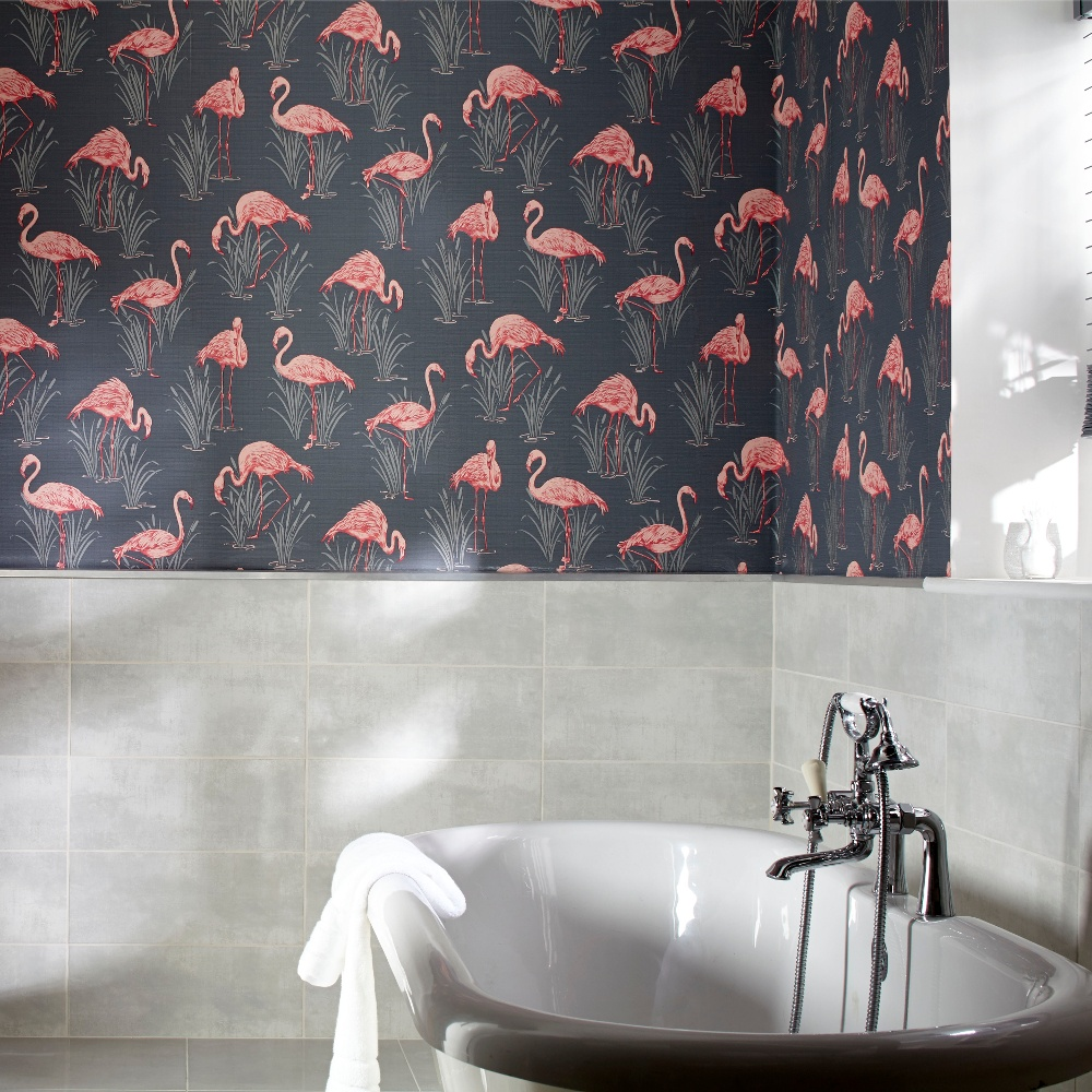 Vintage Lagoon Traditional Oriental Flamingo Textured Wallpaper 252603 1000x1000