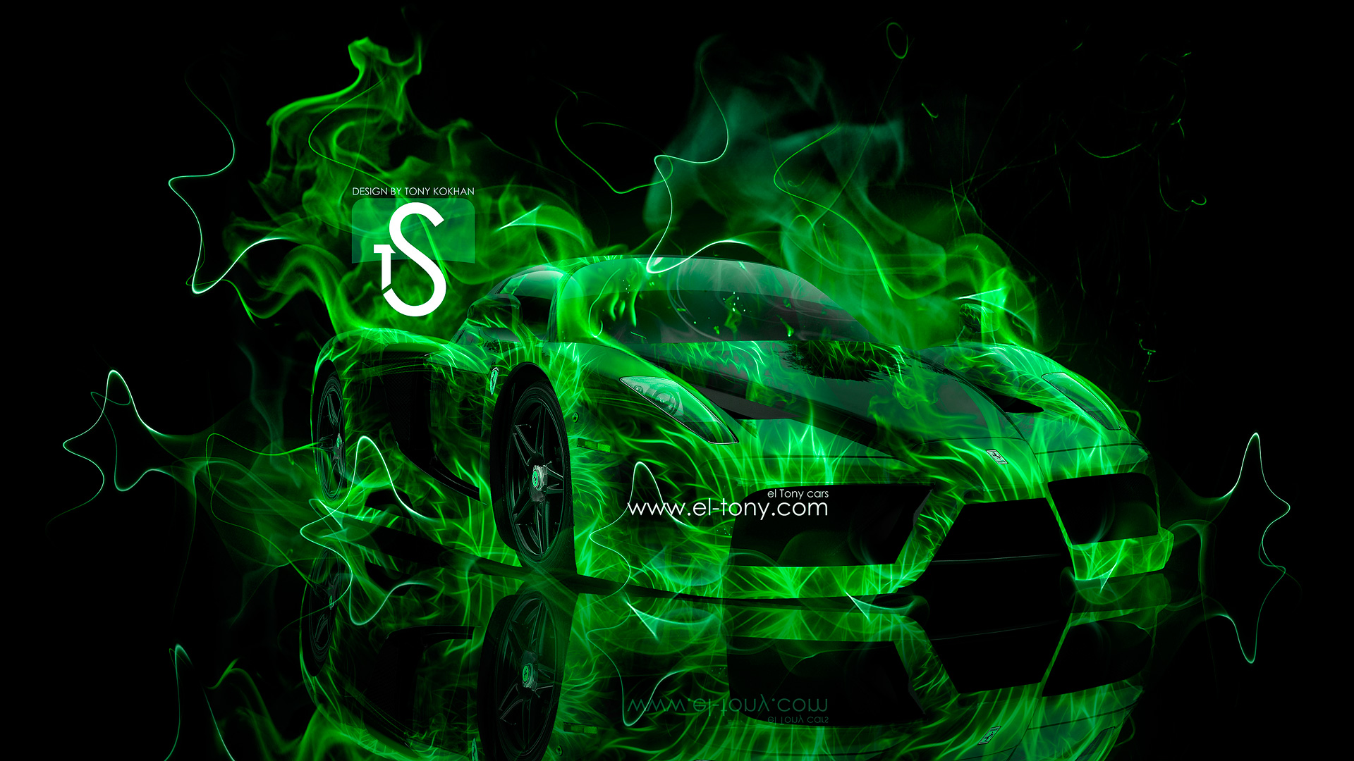 Green Fire Wallpaper Ferrari enzo fire abstract car 1920x1080