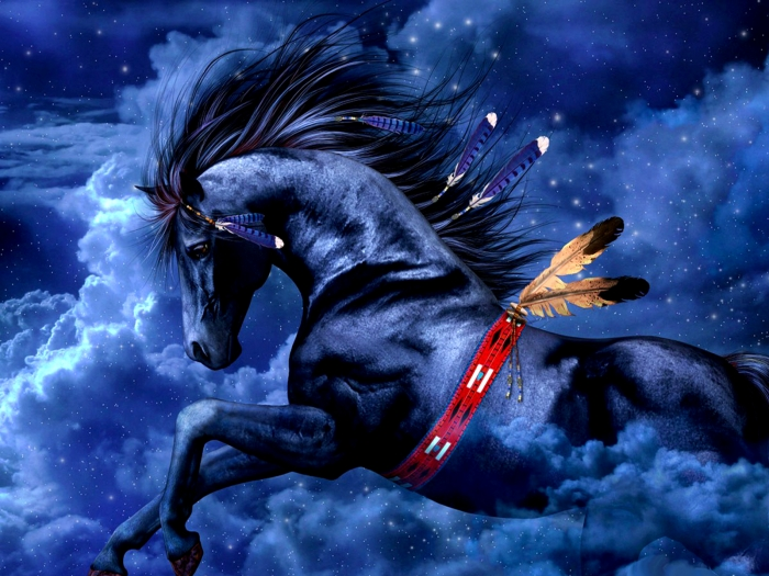 black stallion in clouds with native american feathers wallpaper 700x525