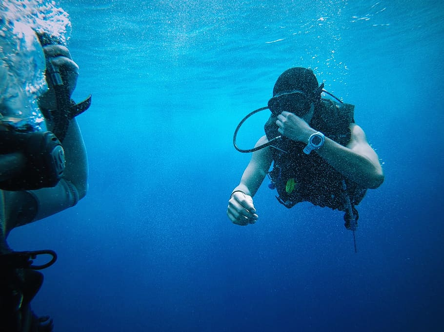 HD wallpaper person scuba diving underwater blue water divers 910x682