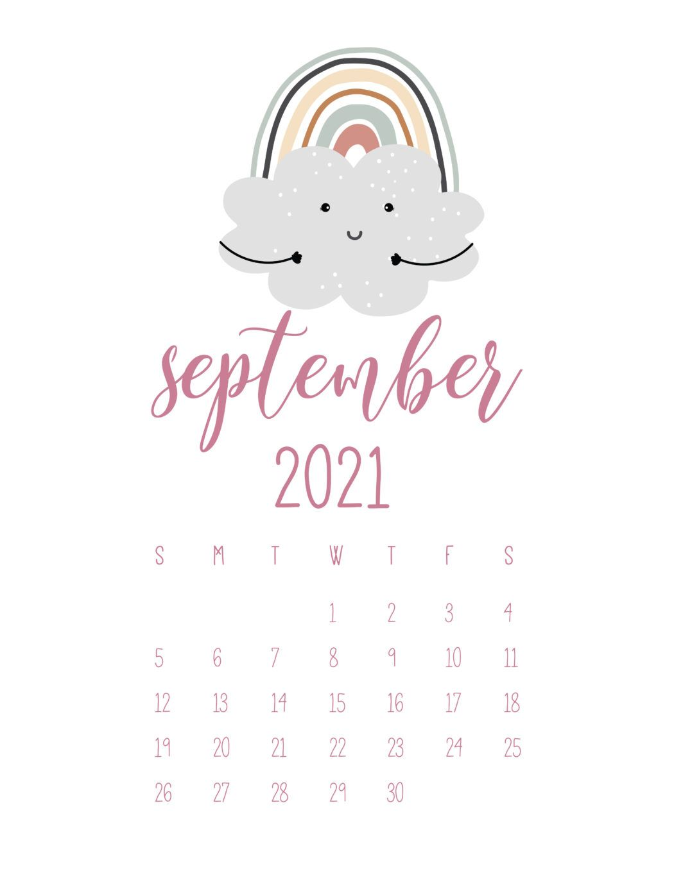 September 2021 Rainbows Calendar 2021 calendar 1050x1358