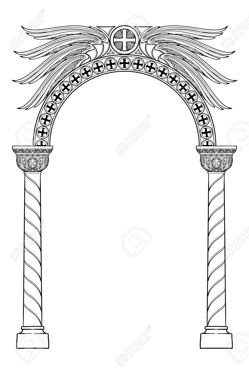 Early Medieval Byzantine Style Round Arch Decorative Motiff 866x1300