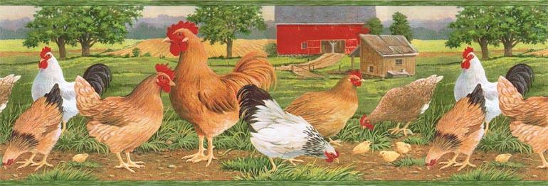 country chicken farm rooster hen barn wallpaper border afr7107 770x262