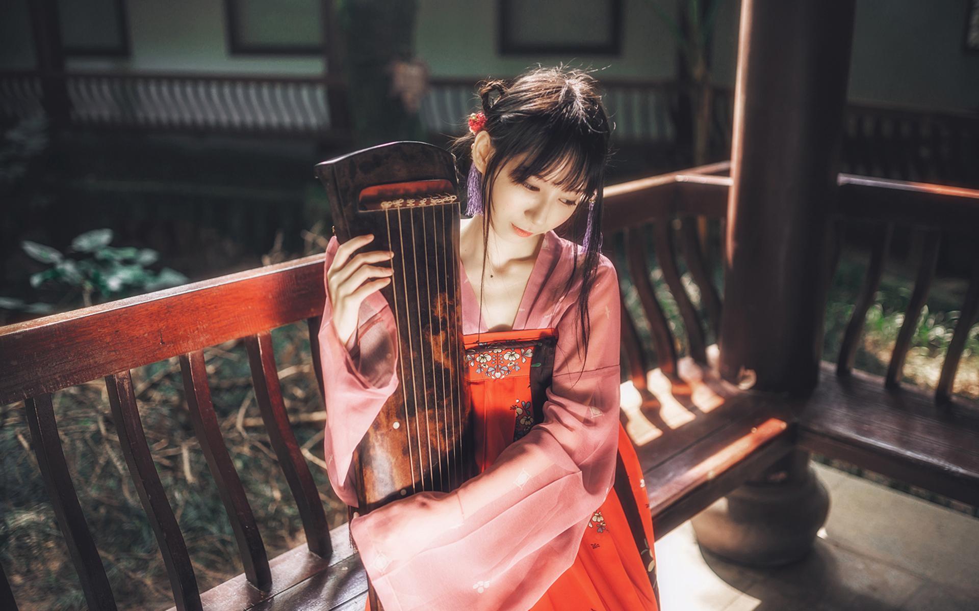 4507832 Chinese zither Chinese dress hanfu Asian women 1920x1200