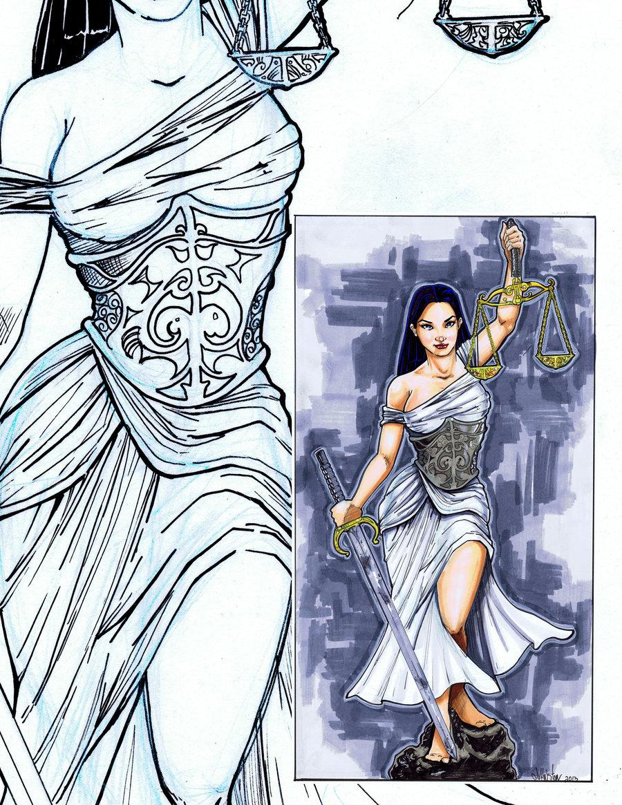 Lady Justice by JohnJohnstonArt 900x1165