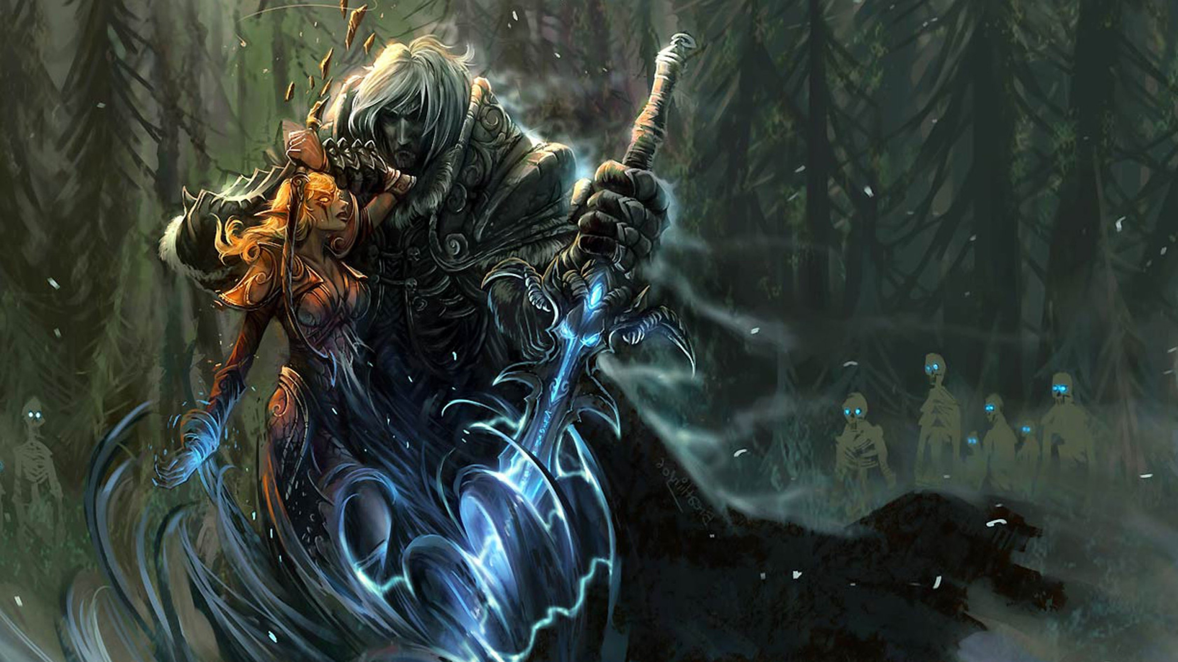 Download Wallpaper 3840x2160 World of warcraft Arthas Sword Forest 3840x2160