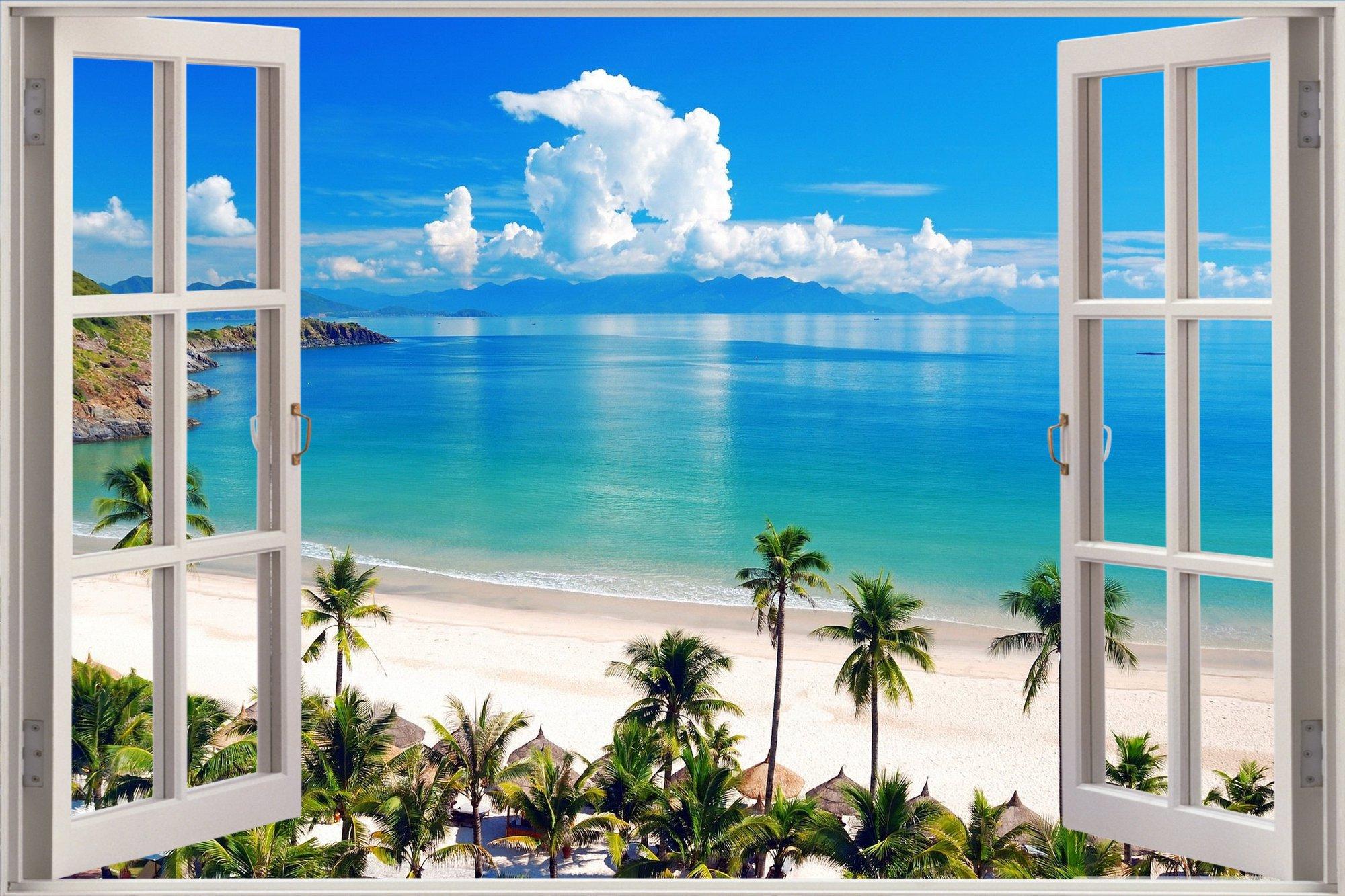 Window Exotic Ocean Beach View Wall Stickers Film Art Decal Wallpaper 2000x1333