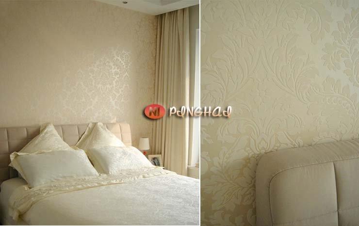 Damascus green flocking wallpaper bedroom wallpaper living room TV 740x466