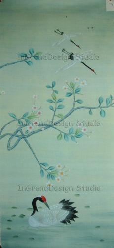 Chinoiserie Handpainted Silk Wallpaper Cranes Alight eBay 231x500