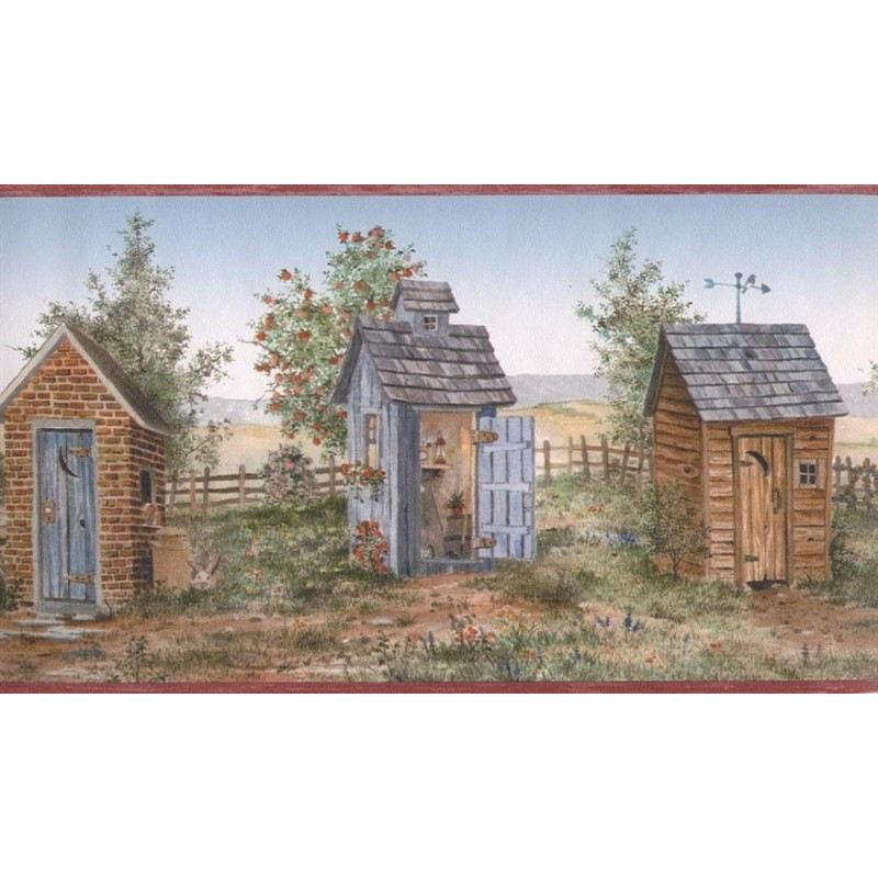 Wallpaper Border Bath Laundry Country Outhouse Border 800x800