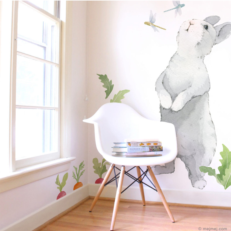 Bunnies in Kids Interiors   dcor wallpaper decals plushtoys 800x801