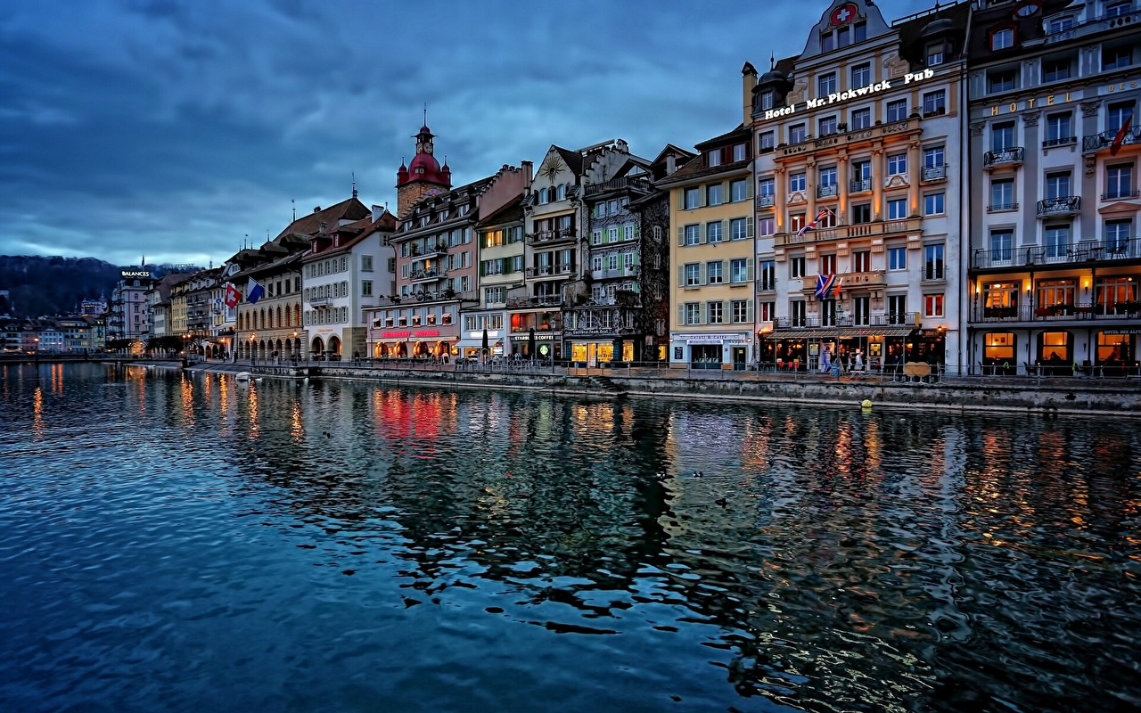 Wallpaper Switzerland Lucerne Reuss River Waterfront Cities Houses 1280x800