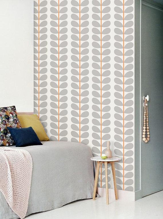 Peel and stick vinyl wallpaper   Leaf pattern print   113 Snow 570x764