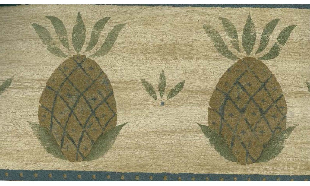 Home Brown and Blue Fruit Pineapple Wallpaper Border 1000x600