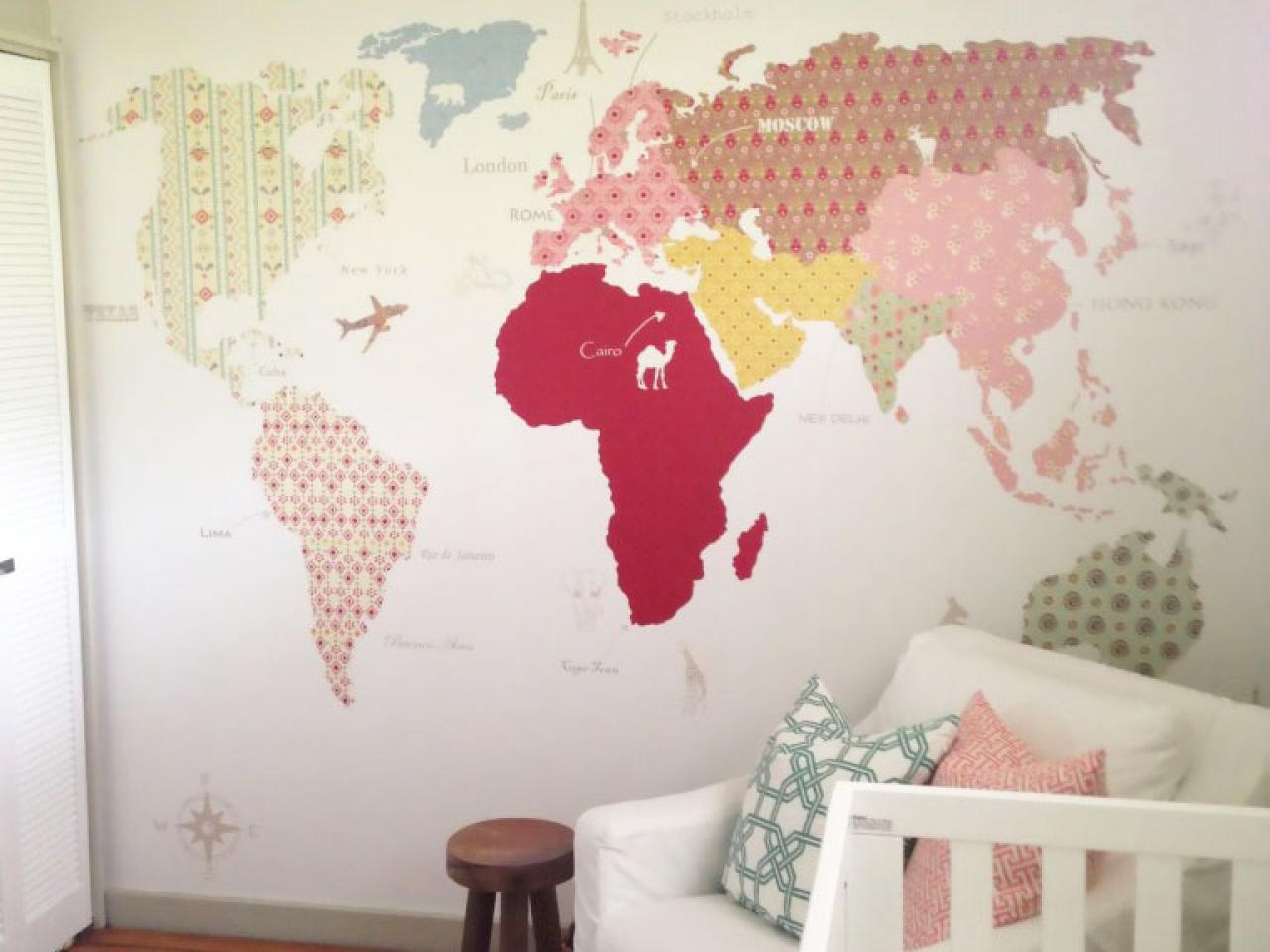 Nursery Mural Wallpaper Map WallpaperSafari