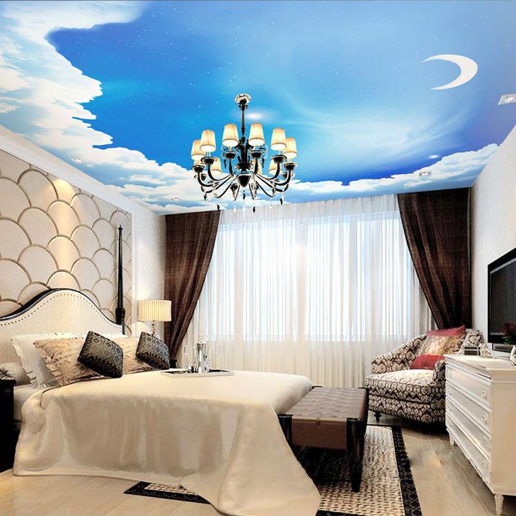 Cielo azul Foto Wallpaper 3D Galaxy Estrellas Luna Techo Wallpaper 750x750